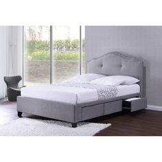 Erin Grey Fabric Upholstered Button Tufted Storage Platform Bed with Nail Head Trim - Overstock Shopping - Great Deals on Baxton Studio Beds