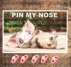 MOANA PARTY GAME Pua Pin My Nose 11x17 inches and 18x24 new