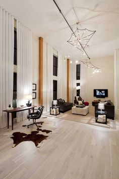 White Wood Floors  Big Modern Living Room With White Floor