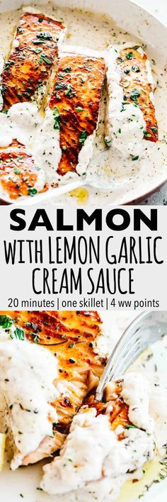 Pan Seared Salmon with Lemon Garlic Cream Sauce – Quick, delicious, bright and. Pan Seared Salmon with Lemon Garlic Cream Sauce – Quick, delicious, bright and creamy salmon dinner prepared in just one skillet and served with an in. Lemon Recipes, New Recipes, Cooking Recipes, Favorite Recipes, Healthy Recipes, Recipies, Cake Recipes, Cooking Tv, Easy Fish Recipes