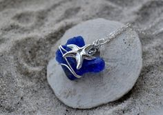 Cobalt Blue Seaglass and Starfish Necklace  by ShatteredSmooth, $25.00