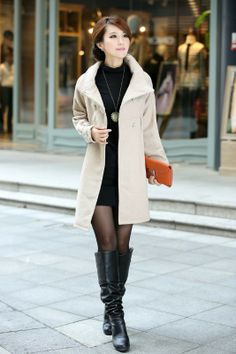 Cheap new loose waist collar double-breasted solid color coat jacket in women outcoat from women clothing on sightface.com