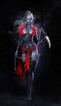 Drow female monk rouge