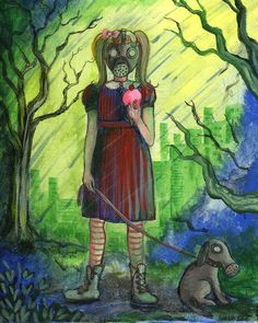"""Original Painting done with acrylic and pen. A depiction of a little girl in a gas mask with her puppy and ice cream in a poisonous storm. Part of the """"Atomic Life"""" series. People Figures, Enchanted, Revolution, Amanda, Original Paintings, Rain, Prints, Rain Fall"""
