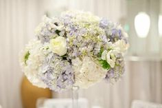 Hydrangeas look beautiful when bunched tightly together.. lovely centerpiece.