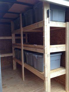 Let's peek inside 5 great troop trailers Enclosed Utility Trailers, Enclosed Trailer Camper, Cargo Trailer Camper, Cargo Trailers, Trailer Shelving, Trailer Storage, Truck Storage, Work Trailer, Trailer Diy