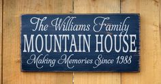 Personalized Mountain House Family Name Sign Mountains Custom Home Wood Plaque Memories Cabin Gifts Decor Family Last Names Established Date