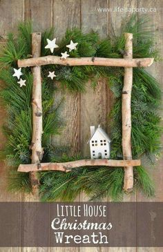 fensterdeko weihnachten Little House Christmas Wreath -full tutorial to make your own wreath from some gathered greens, birch logs, and a coat hanger. Perfect for Christmas. Noel Christmas, Rustic Christmas, Winter Christmas, All Things Christmas, Christmas Swags, Outdoor Christmas, Canadian Christmas, Christmas 2019, Christmas Lights
