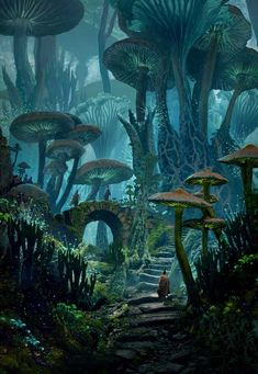 ArtStation - Mushy Land Raphael Lacoste - Pen and Paper -You can find Magical forest and more on our website.ArtStation - Mushy Land Raphael Lacoste - Pen and Paper - Artwork Fantasy, Fantasy Art Landscapes, Fantasy Concept Art, Landscape Art, Fantasy Paintings, Space Fantasy, Digital Paintings, Character Inspiration Fantasy, Fantasy Forest