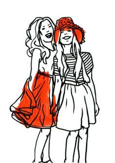 """Girls"" by Marina Gerosa on #INPRNT - #illustration #print #poster #art #fashion #girls #friendship #girlfriends #skirt #orange #marina gerosa"