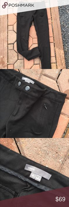 "Vince Black Moto Skinny Stretch Pants Leggings 4 Size 4. Waist flat: 14"". Inseam: 28"". Front Rise: 8"". Super gently preowned. Be sure to view the other items in our closet. We offer  women's, Mens and kids items in a variety of sizes. Bundle and save!! We love reasonable offers!! Thank you for viewing our item!! Vince Pants Skinny"