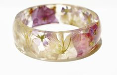 Multi flower resin bangle real flower resin by NThandmadeJewelry
