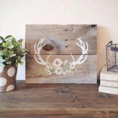 Antlers & Floral Arrangement Hand Painted Sign by ShopSimplyShabby