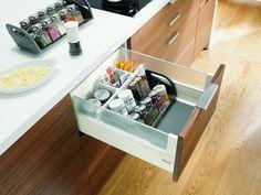 Orgaline for Spices - Richelieu Hardware Kitchen Spice Racks, Kitchen Storage, Storage Spaces, Spice Holder, Spice Rack Organiser, Tandem, Spice Drawer, Woodworking Industry, Plate Holder