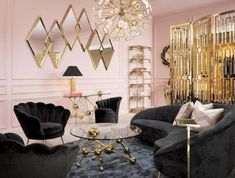 The art deco patterns were displayed in the mirrors, coffee table, chandelier, and room divider. The contrast of the pink and black is a classic art deco style. Art Deco Living Room, Art Deco Bedroom, Glam Living Room, Home Living, Luxury Living, Living Room Designs, Modern Living, Bedroom Decor, Salon Art Deco