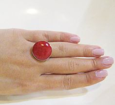 Coral ring,Sterling silver ring,Adjustable ring,Unique coral Jewelry ,Silver ring,coral Jewelry ,Marce birthday stone,Red Ring,Red Jewelry