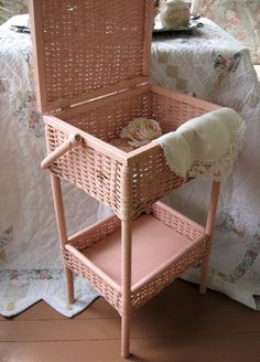 Vintage Sewing Baskets | Antique Sewing basket- Heywood Wakefield wicker Shabby Chic Pink ...