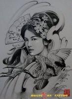 hình xăm geisha 2