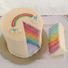 Smash Cake, taste the rainbow...will look great all over her face! A 1 year old's birthday cake, could be used for any age though.