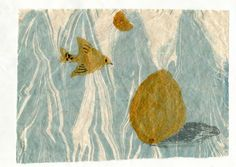 < maybe golden coconut egg !! >  ,monotype and marbling on chinese handmade paper by huqindi , 2016