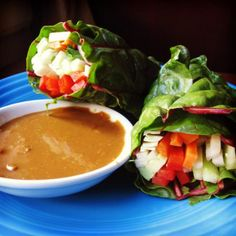 Summer Wraps with Collard Greens and Peanut Sauce