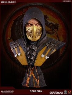 Get over here and take a look at the Mortal Kombat Scorpion Life-Size Bust. Killed by Sub-Zero and transformed into a demon of the Underworld, the ninja warrior Mortal Kombat X Scorpion, Mortal Kombat Tattoo, Mortal Kombat Art, Sub Zero, Ufo, Claude Van Damme, Pop Culture Shock, Shoulder Armor, Modelos 3d