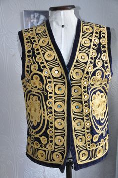Midnight blue, eastern style waistcoat, with gold thread and mirror detail, from Calling All Hipsters Vintage on FB, <3