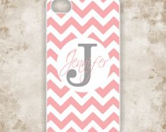Monogrammed iPhone 4 Case,   - Pink Chevron with Personalized Name -  iPhone Case (iM5141)