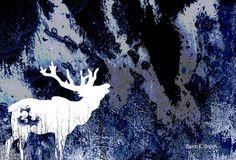 White Elk Art Silhouette Blue GIMP Digital by GrayWolfGallery