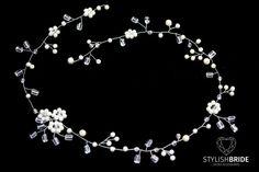 Cabello largo Floral perla novia vid vid por StylishBrideShoes