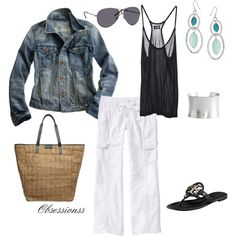 Saturday in the park, created by obsessionss - wear my white linen pants, black tank, silver cuff and jacket like this.  use silver and turquoise earrings