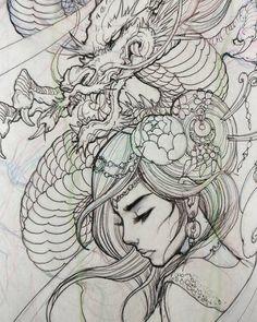 Tattoo of geisha and dragon – Irezumi / Japan Tattoo, dragon, drawing, Geisha,. Kunst Tattoos, Irezumi Tattoos, Body Art Tattoos, Tattoo Drawings, Sleeve Tattoos, Leg Tattoos, Pencil Drawings, Geisha Tattoos, Geisha Tattoo Design