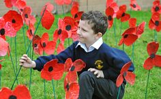 Each pupil and member of staff at Hayfield School in Upton made a paper mache, with more than 120 of them placed on the school's field on Armistice Day.