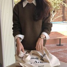 Collar Shirt With Sweater, Collared Shirt Outfits, Sweater Outfits, Brown Sweater, Aesthetic Fashion, Aesthetic Clothes, Pale Aesthetic, Korean Outfits, Trendy Outfits