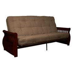 savannah 8 inner spring futon sofa sleeper mahogany wood finish rh pinterest com