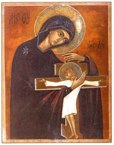 Mother of God with infant Jesus on the cross.