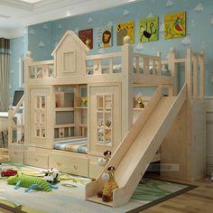 Lit superposé lit en bois massif base armoire lit superposé échelle Bureau lit avec toboggan, lit