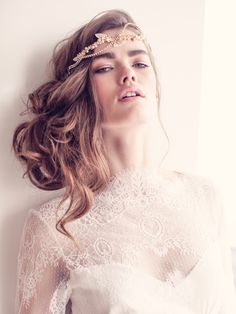 Beautiful bridal headdress from Jannie Baltzer - Carly Rose (as seen in Vogue Brazil, photography by Sandra Aberg)