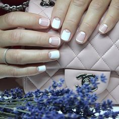 Natural Summer Nails Design For Short Square Nails Moon Manicure, Glitter French Manicure, French Nails, Moon Nails, Nail Art Design Gallery, Best Nail Art Designs, New Nail Polish, Nail Polish Colors, Short Square Nails