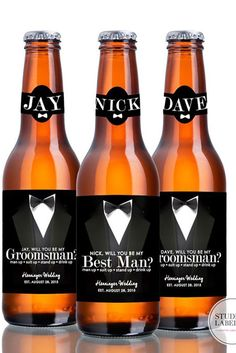We suggest some funny and preferred groomsmen proposal ideas. They include shot glass, bottles of your favorite drinks, cigars, socks, proposal cards etc.
