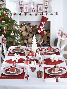 tavola di natale bianco e rosso - Cerca con Google