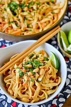 Cold Peanut-Sesame Noodles by Full Fork Ahead, via Flickr - A great, simple and easy dish perfect for the summer heat thanks to very little cooking. Just a flavorful sauce put together in your blender, lo mein noodles and a little chill time in the fridge.