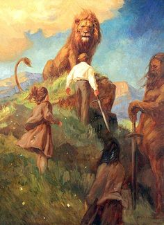 The Chronicles Of Narnia:The Lion, the Witch and the Wardrobe By:C. Peter, Susan & Lucy Meet King Aslan The Great! Chronicles Of Narnia Books, Narnia 3, Desenhos Harry Potter, Prince Caspian, Nerd, Httyd, Lions, Fantasy Art, Book Art