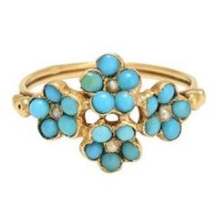 Antique French Turquoise Pearl Flower Ring 3