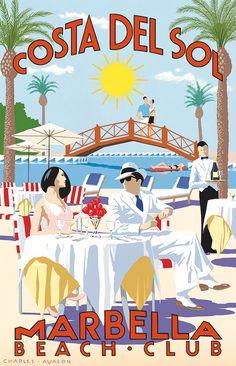 PEL320: 'Marbella Beach Club - Costa Del Sol' by Charles Avalon - Vintage travel posters - Art Deco - Pullman Editions