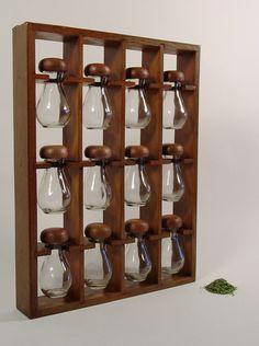 Mid Century Spice Rack. Wooden Hanging Spice Rack by ClubModerne.  Etsy link out of stock.  Holds 12 spices for $75: $6.25 / spice.