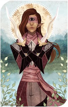 Aela Travellan, tarot card commission based on the Two of Swords for khayr :)