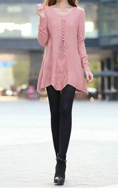 Fashionable Style Scoop Collar Solid Color Long Sleeve Cotton Women's Sweater Sweaters & Cardigans | RoseGal.com Mobile