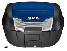 """Shad SH-40 motorcycle top case in blue. Designed to attach to most flat luggage racks. Its dimensions are: 16.7"""" L x 19.3"""" W x 11.6"""" H and has a 40 liter capacity. Your price is $188.95. With Free Shipping."""