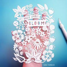 Let Your Spirit Bloom! Original papercut art by Sarah Trumbauer / prints…